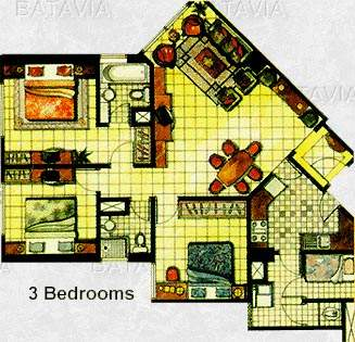 Floor Plan for 3 Bedroom Apartment